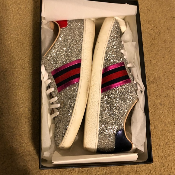 be9775009 Gucci Shoes | Silver Glitter Sneakers Size 9 | Poshmark